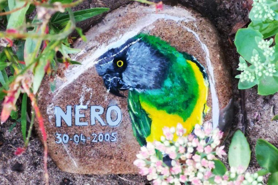 grafsteentje met schildering, weersbestendig